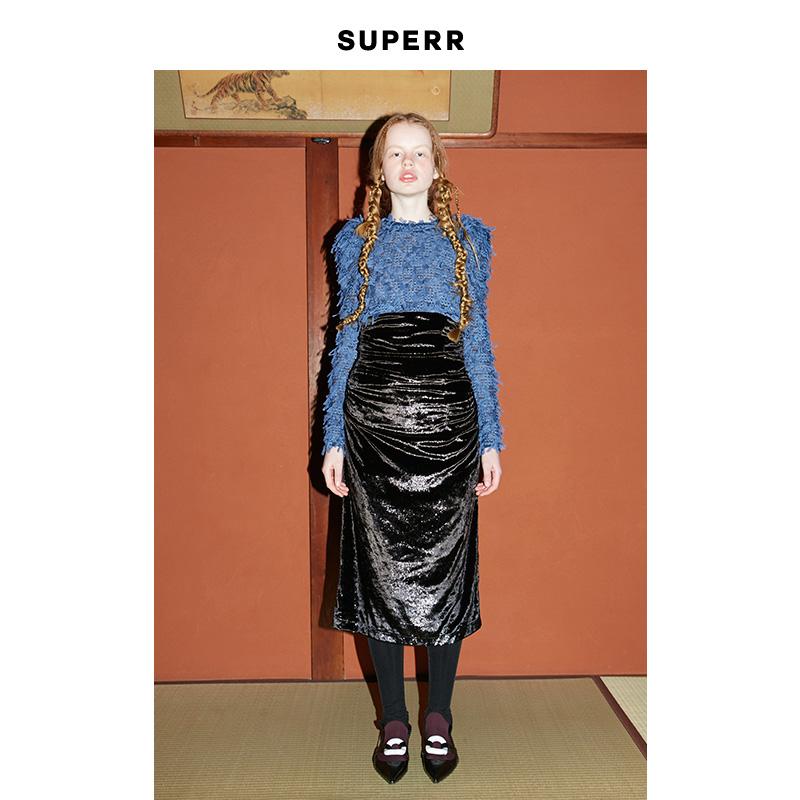 SUPERR vol.17 黑色特殊面料抽皱合身高腰半裙