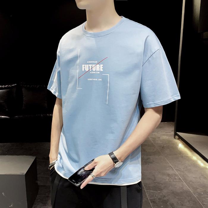 男短袖T恤男撞色2020新款夏季印花纯棉宽松帅气潮上衣男