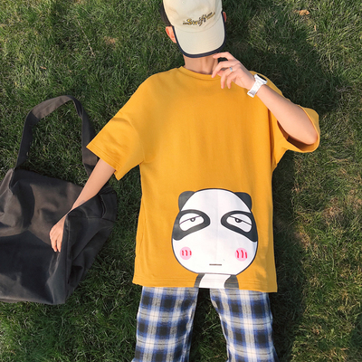 夏季新品卡通印花短袖宽松青少年港风潮牌t恤A093-T885-P45