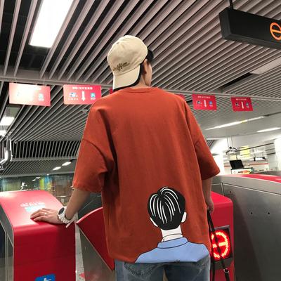 新品2018夏季时髦卡通印花宽松t青少年港风潮牌t恤A093-T87-P45