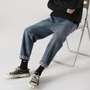 秋季牛仔裤男宽松阔腿韩版男士直筒老爹长裤子潮牌7190-P45,男装牛仔裤,电商A318
