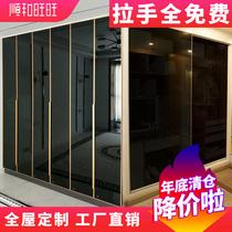整体实木衣柜定制轻奢玻璃门衣柜酒柜玻璃平开门推拉移门工厂定做