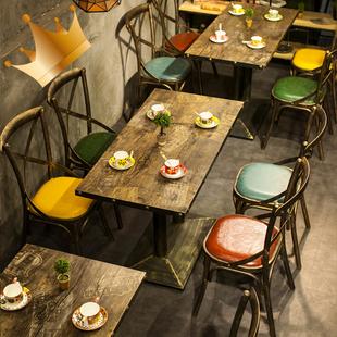 复古工业风铁艺餐饮店火锅店酒吧主题餐厅小食烧烤店餐厅桌椅组合