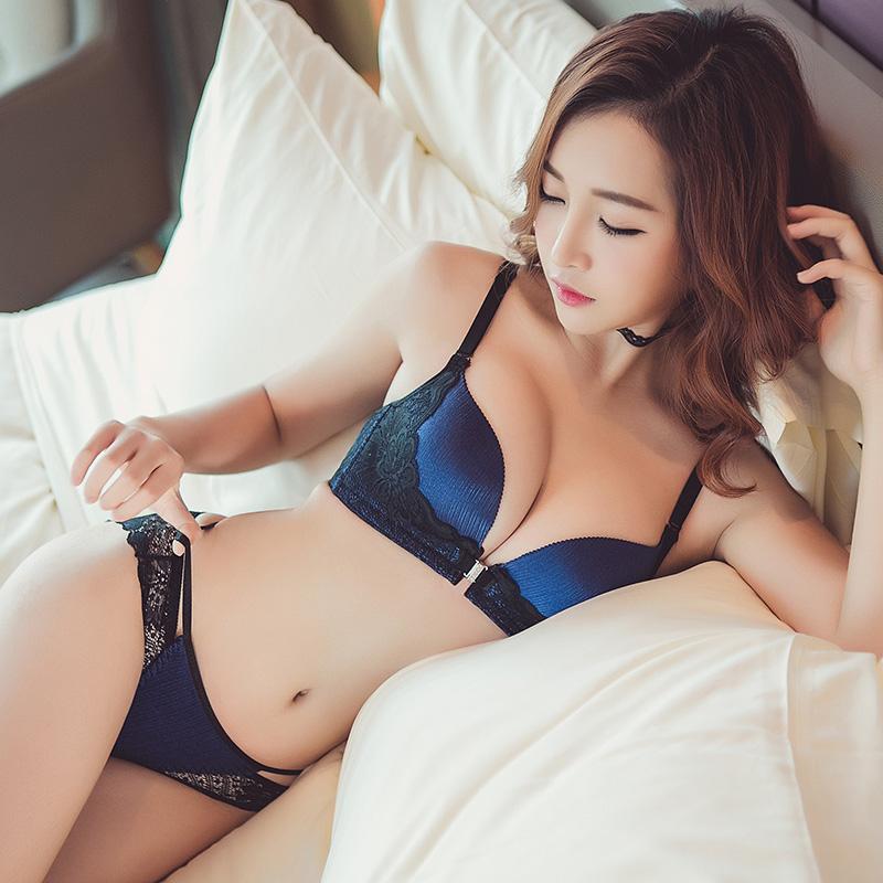 蜜色之吻 夏季日系性感蕾丝前扣无痕无钢圈文胸套装内衣女士聚拢