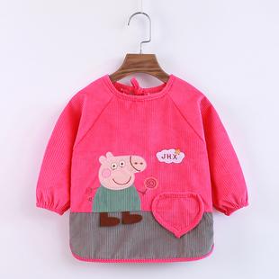 秋冬季 罩衣 儿童吃饭防水婴儿围兜女童围裙宝宝防脏反穿衣男孩长袖