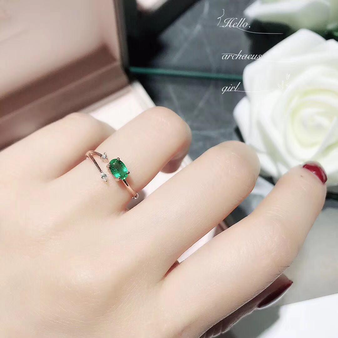 光辉彩宝 小清新时尚18K金钻石精工镶嵌天然祖母绿裸石戒指女款