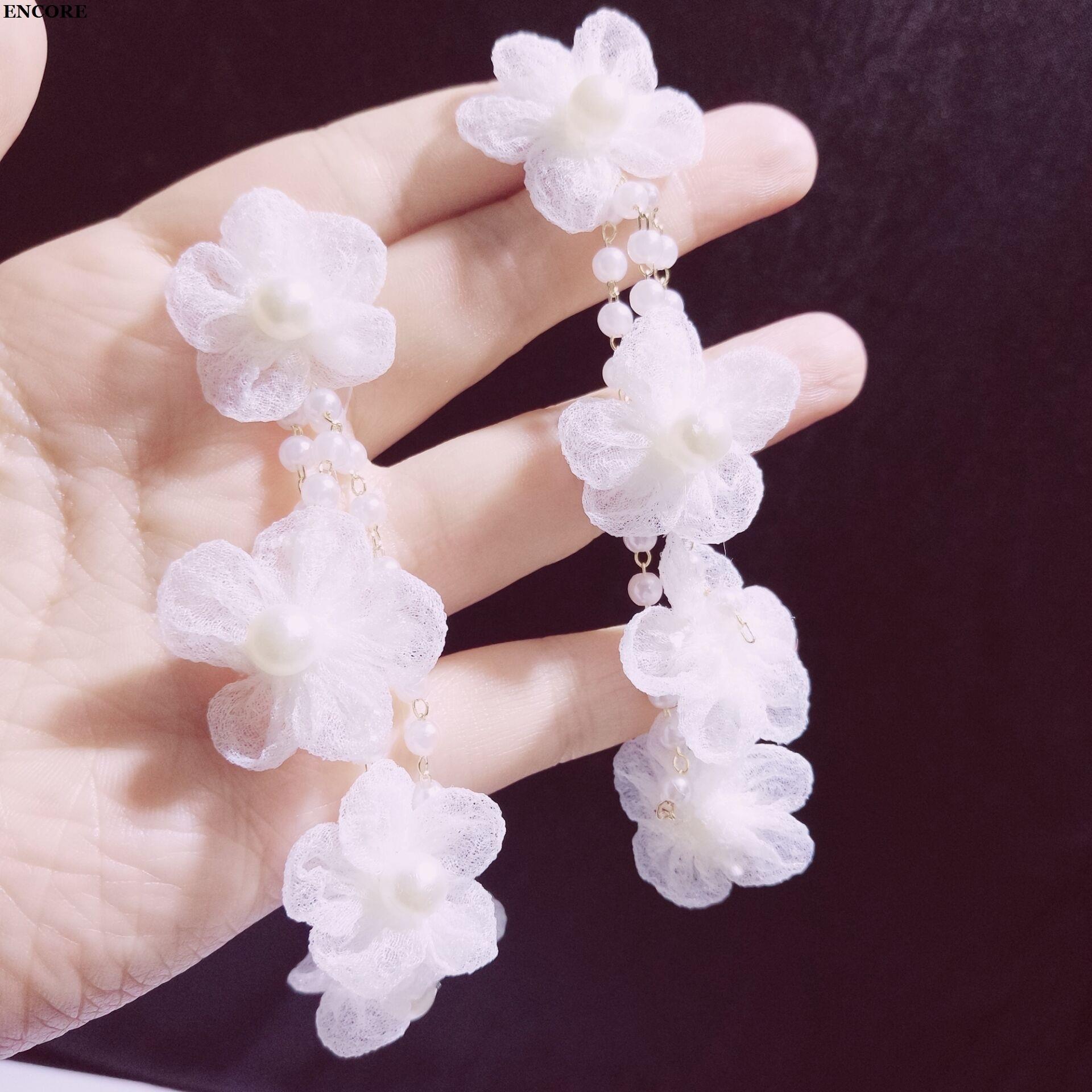 韩国气质仙女新款花朵珍珠耳环小怡nana同款耳钉度假超仙耳环女