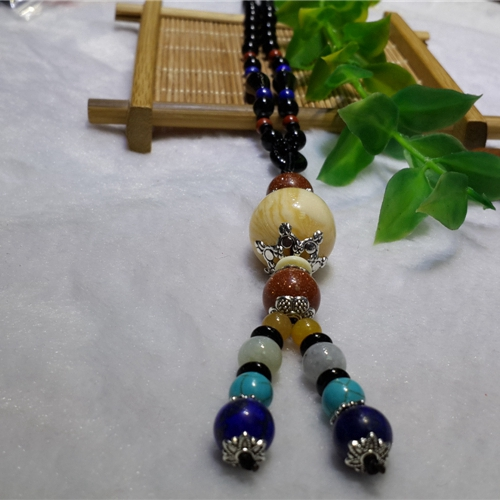 Dress chain with silk, jade pulp necklace, missing tooth pendant, Turquoise Inlaid with Silver Pendant