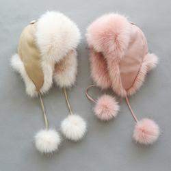 女童韩版可爱帽子儿童雷锋帽男童冬季棉袄宝宝保暖加厚婴儿防风帽