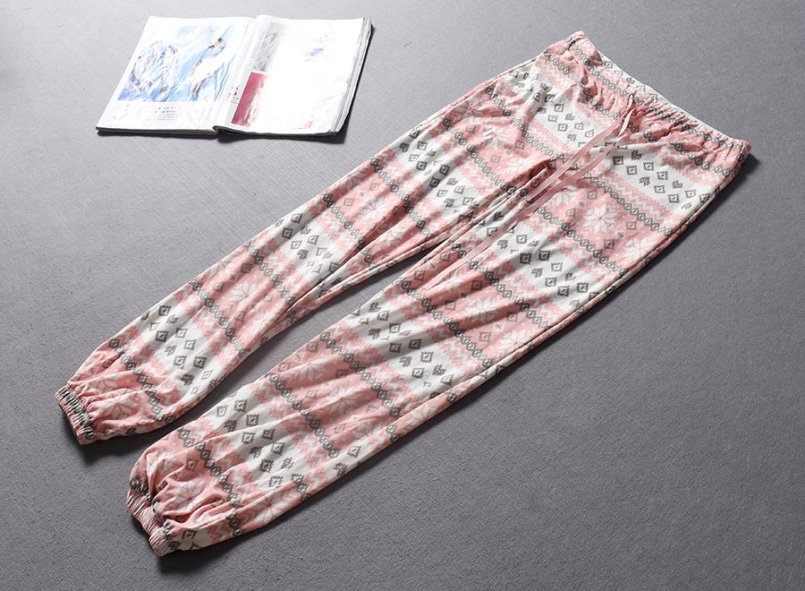 英国单北欧风印花巨舒适抽带松紧高腰家居长裤子春夏大码女装0.24