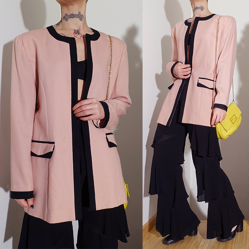 Pin Vintage 1980s Retro Modern pink shoulder pad spring and autumn round neck suit coat