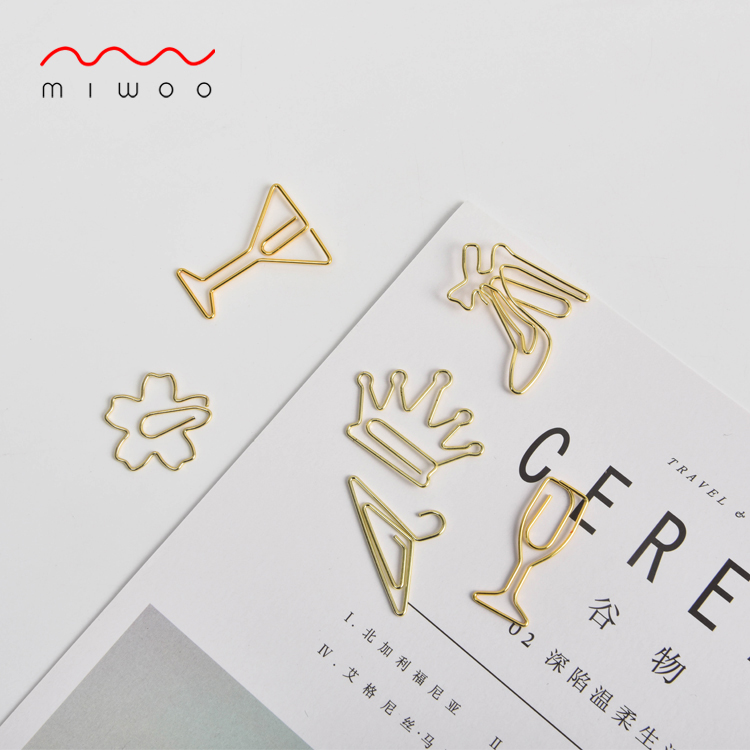 MIWOO品牌 金色别针回形针书签创意可爱 曲别针包邮定制办公用品