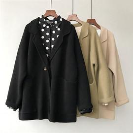 西装领毛衣开衫 插肩袖羊绒大版宽松遮P两颗扣毛衣外套韩国大衣女图片