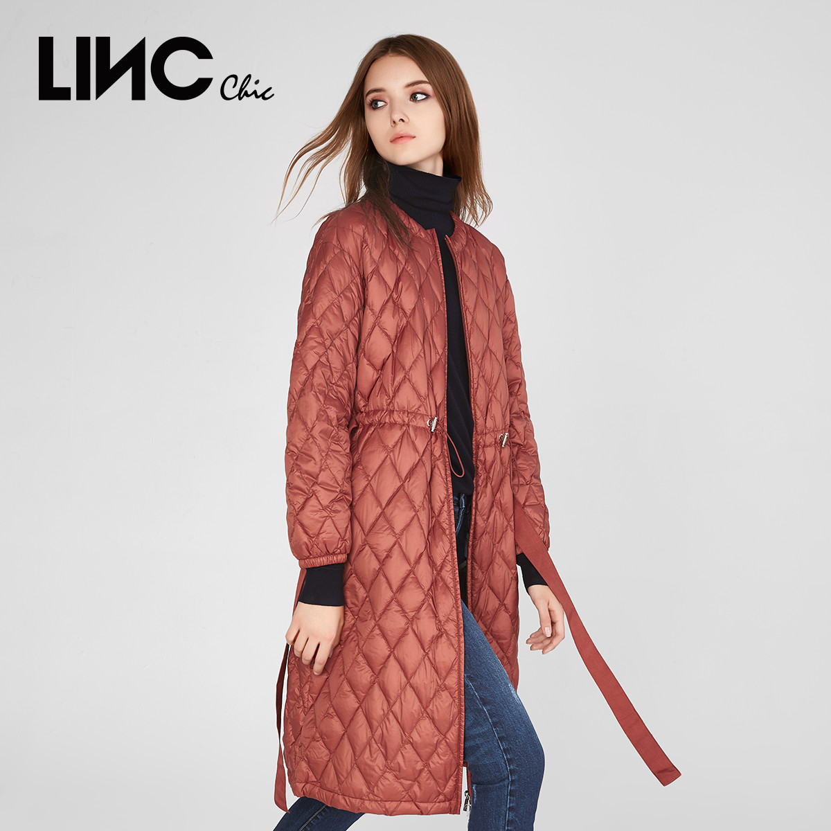 Linc golden badminton autumn and winter new coat style long over knee loose light down women's 8313450