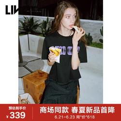 【商场同款】LINC金羽杰2021年季新甜酷电音印花短袖T恤S212FK276