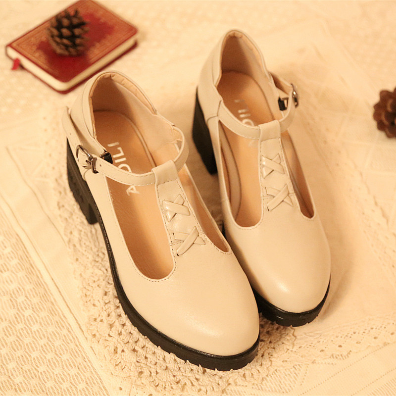 British style retro small fragrant genuine cow leather middle heel thick heel T-shaped shoes soft sole comfortable buckle Lolita women's single shoes