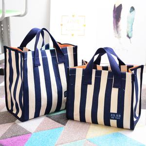 条纹棉麻帆布手提包女环保学生袋子大容量防水格子购物袋包饭盒袋