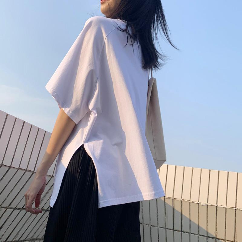 白色短袖t恤女装ins潮2020夏季新款宽松韩版特色开叉纯棉中袖上衣