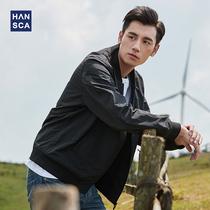 汉斯卡2021新款飞行毡夹克男春秋韩版潮牌百搭棒球领薄款休闲外套