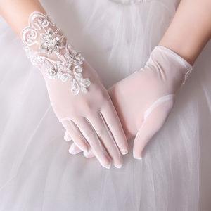白婚纱手套新娘手套短款包邮蕾丝结婚网纱水钻短手套五指薄款夏季
