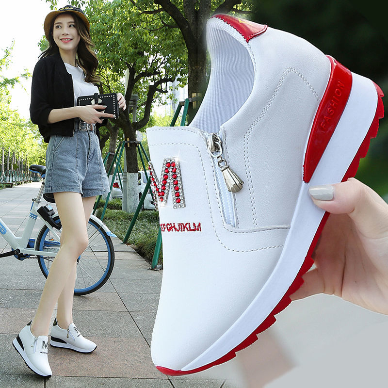 2020 new net red womens shoes summer Korean version versatile sports thick sole autumn single shoe inner height small white womens shoes