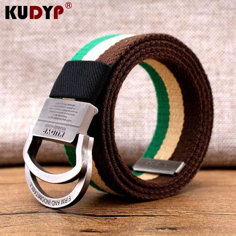 Canvas belt mens fashion extended 140cm fat mans overalls belt womens coolins double ring buckle stripe European and American wide