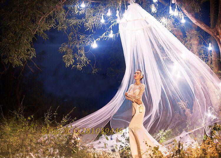 新款摄影道具白色纱幔写真纱帐实景装饰蚊帐婚纱外景道具白色帐篷