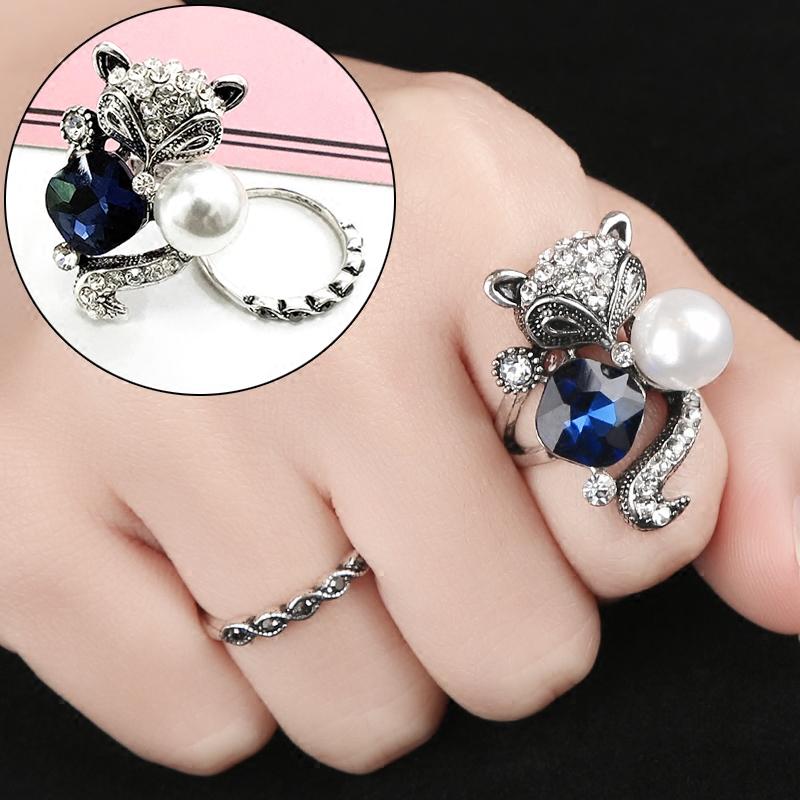 蓝宝石狐狸戒指女日韩潮人学生食指关节戒夸张个性指环欧美装饰品