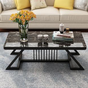 茶几简约现代大理石纹路钢化玻璃面小户型客厅创意茶桌个性小桌子