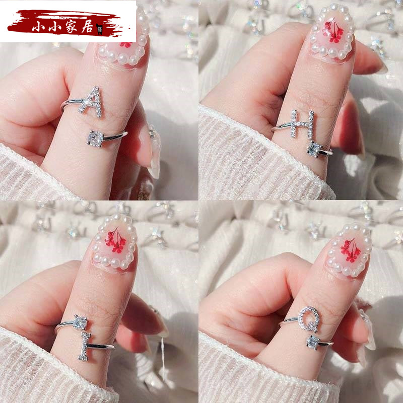 26 English letter ring girl student friend Korean version personalized couple ring simple girlfriends opening adjustable tail ring