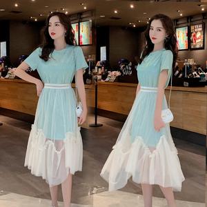 实拍2019夏季新款胖妹妹T桖裙+网纱时尚套装裙两件套