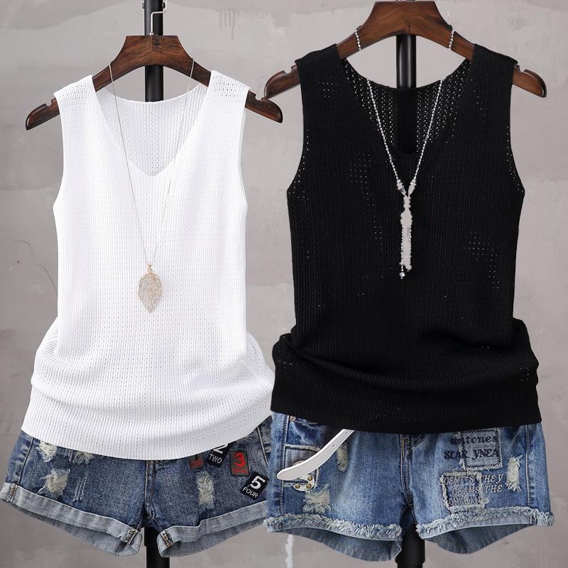 2018韩版修身显瘦V领无袖针织背心女短款夏季吊带打底衫t恤上衣潮