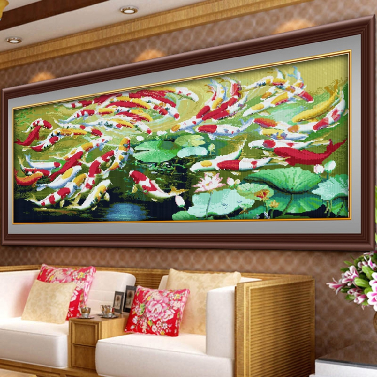 Every year, more than 66 fish are cross embroidered. The living room is atmospheric and heavily embroidered. It embroiders its own 2020 new style