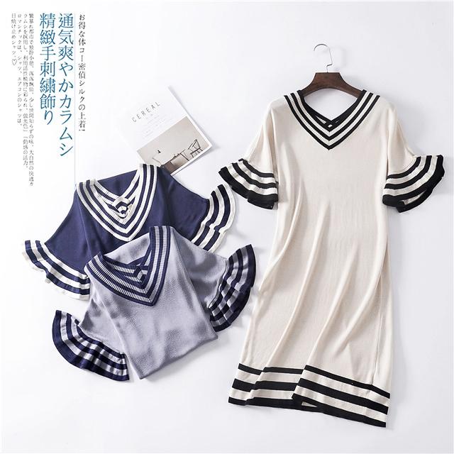 新款桑蚕丝v领撞色边荷叶袖中长裙灵动显瘦连衣裙有大码