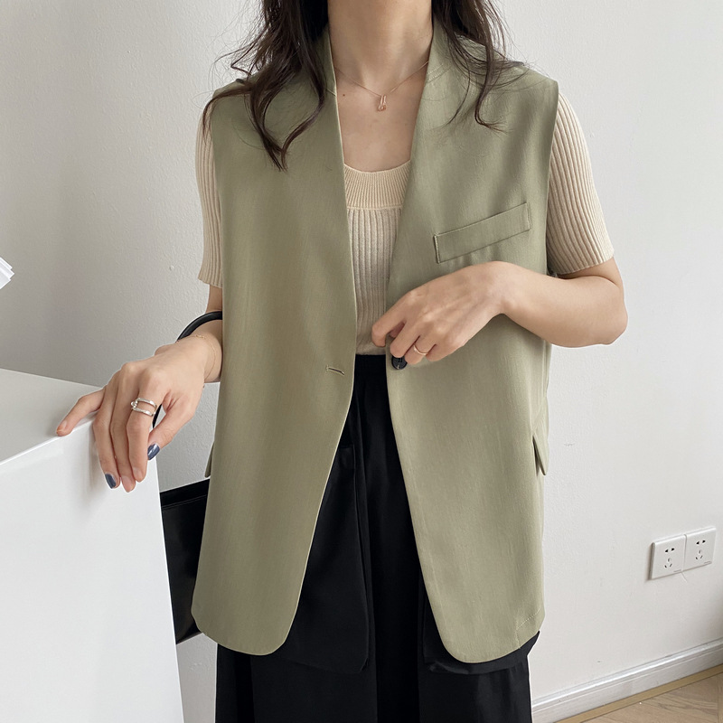 Sumi2020 spring and summer new Korean womens sleeveless Blazer Jacket solid color loose casual wear jacket