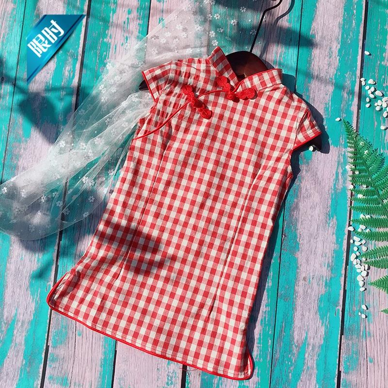 2018夏季新款童装中小童 女童文艺格子复古旗袍 儿童改良旗袍裙