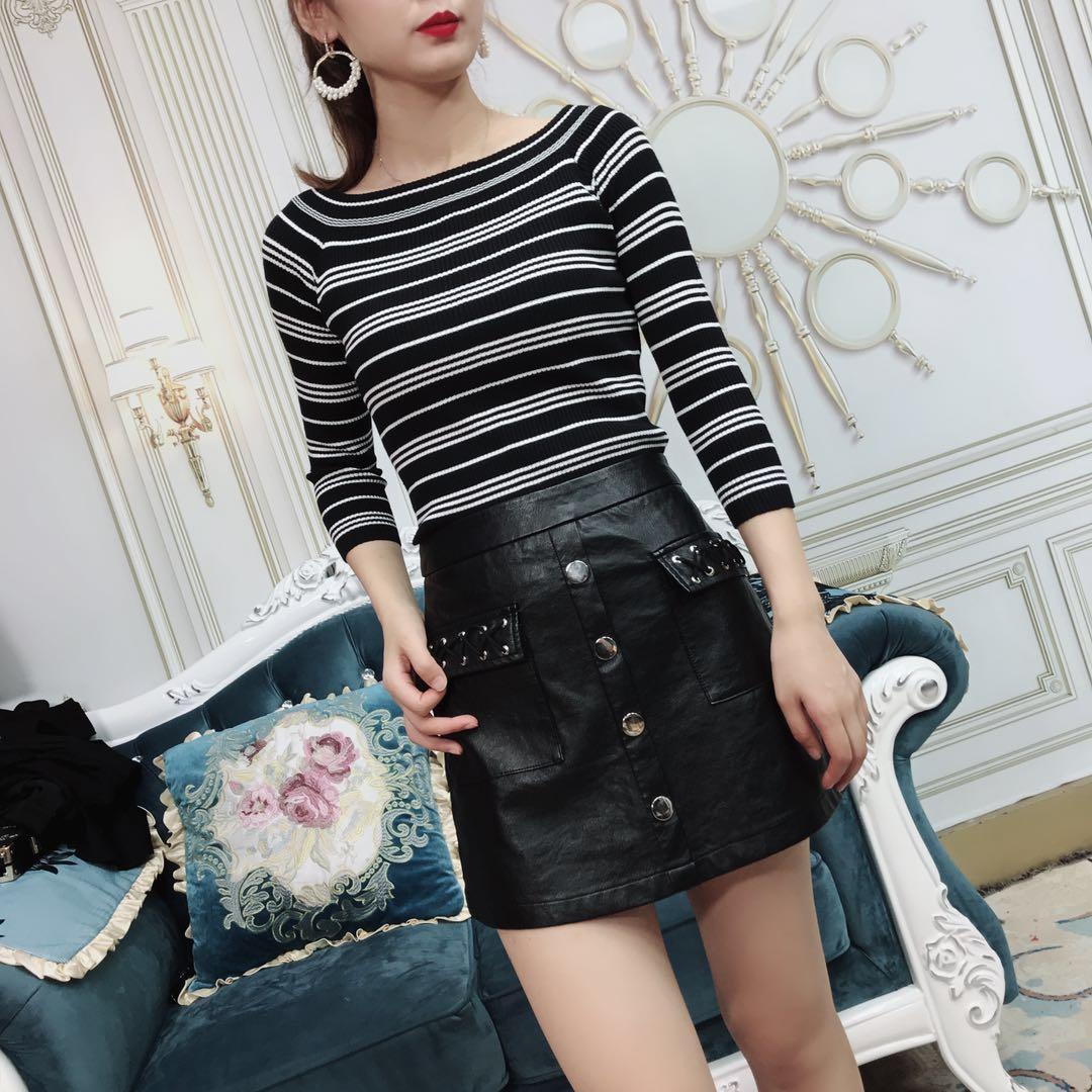 【大�t花定制】新款女�b�l�y上衣加pu短裙�杉�套D171207