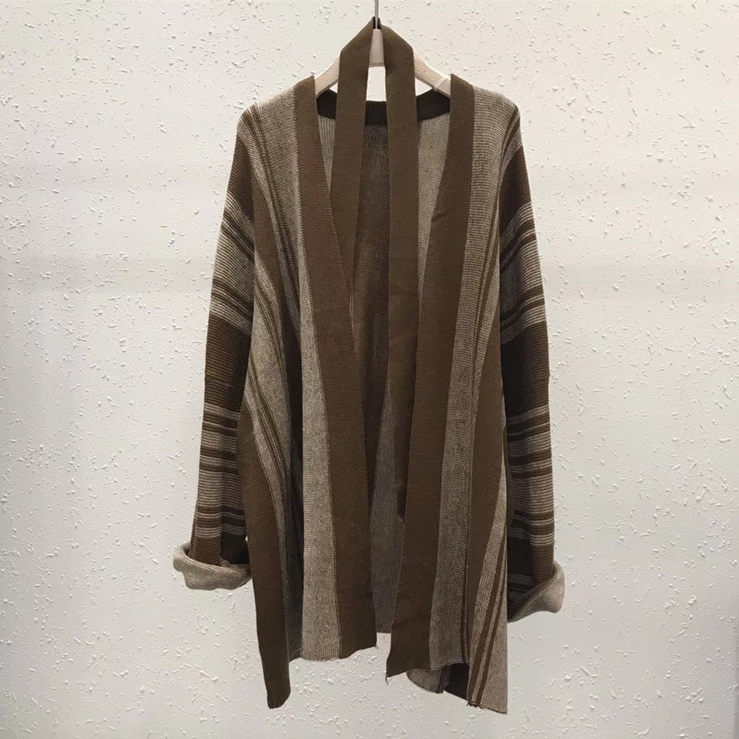 Simple brown stripe loose large sleeves show thin temperament medium long lace up knitted sweater cardigan