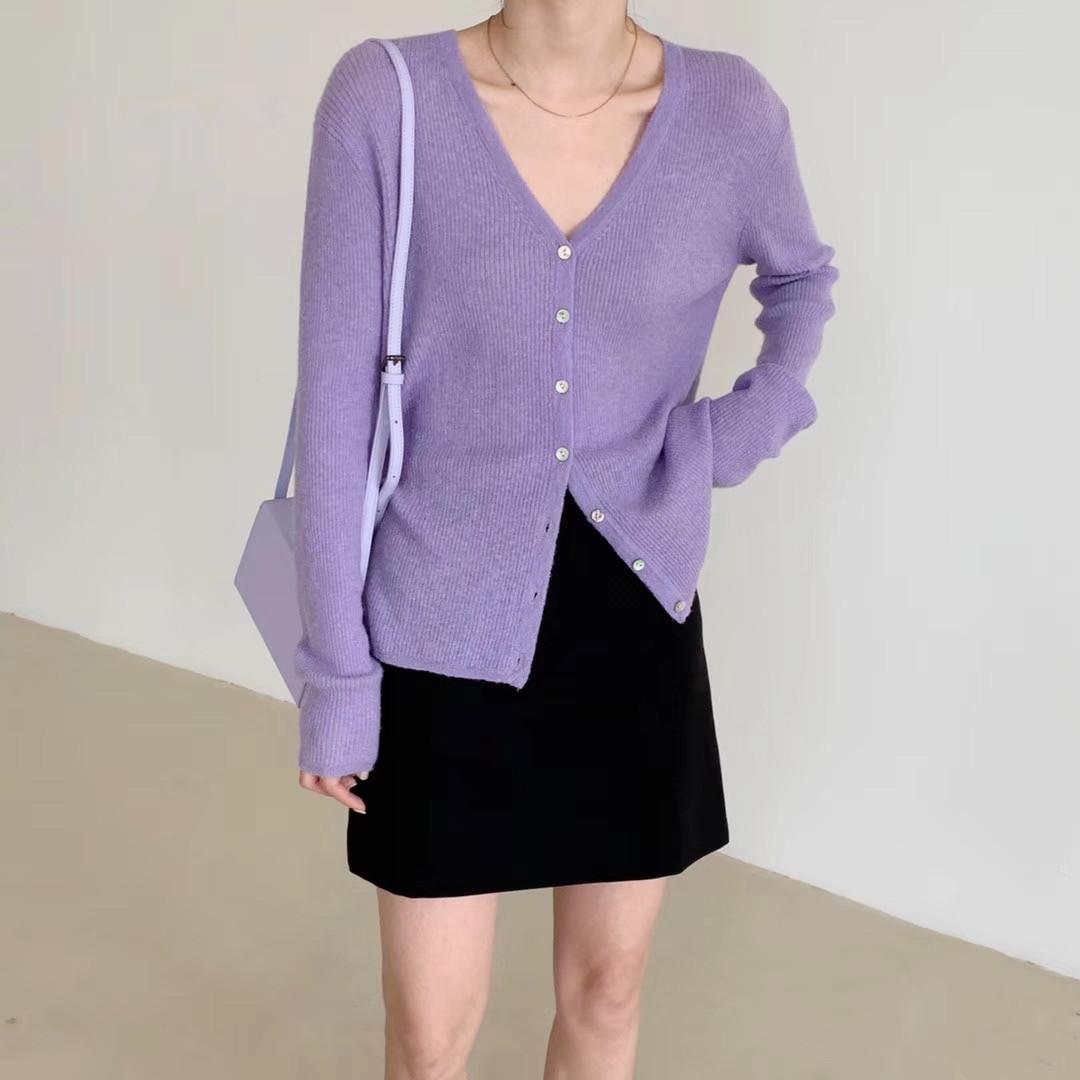 【YOLY柳里】紫色羊毛气质薄款长袖修身cos风香芋紫针织开衫外套