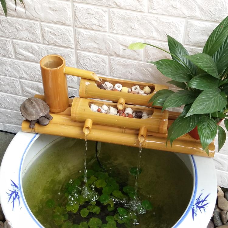竹子流水器循环别墅庭院造景招财摆件陶瓷石槽鱼缸水池加湿过滤器