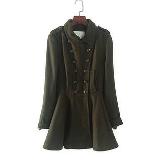 秒杀天系列 秋冬新款女装专柜双排扣翻领小个子修身显瘦 毛呢大衣