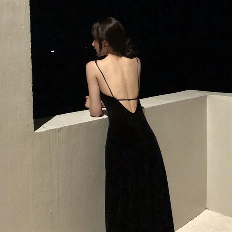 2019夏季新款女装韩版时尚中长裙性感露背小心机吊带裙V领连衣裙热销328件需要用券