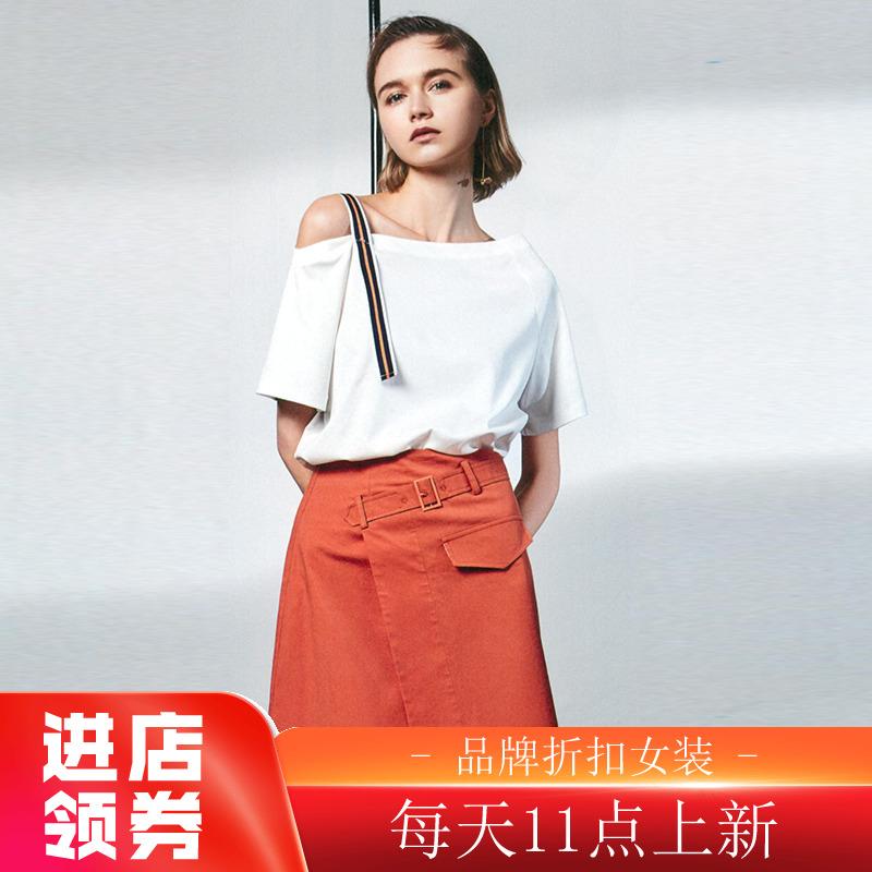 迪●斜肩短袖纯棉T恤活泼chic亲肤上衣2020夏季新款品牌折扣女装