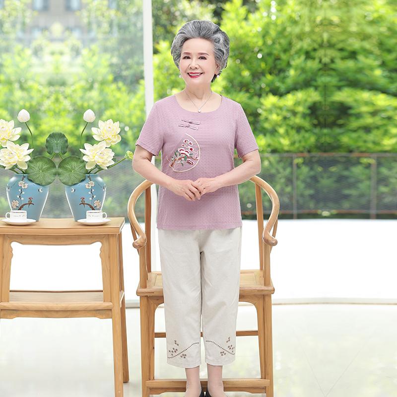 2020新款妈妈装夏装短袖棉麻套装时尚气质中年女装套装 D3218P100