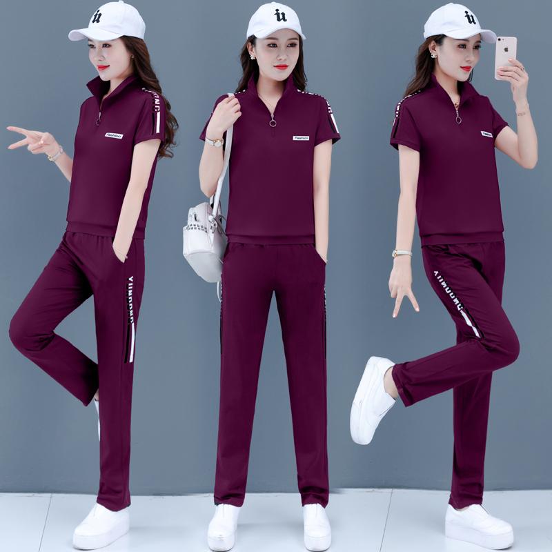 夏2020短袖长裤立领运动服夏装新款女装宽松大码时尚潮D3170/P75