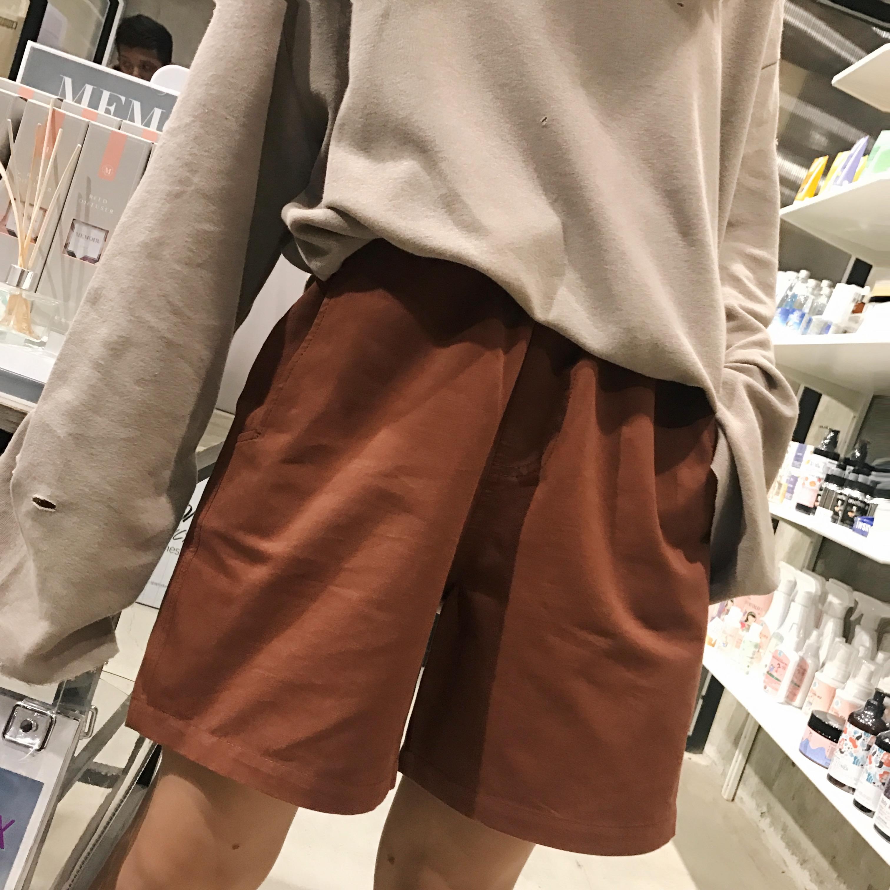 钱夫人CHINSTUDIO韩版高腰西装短裤女夏中性宽松五分裤阔腿休闲裤