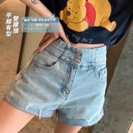 钱夫人家雪梨定制 高腰卷边阔腿牛仔短裤女夏季韩版宽松A字热裤潮