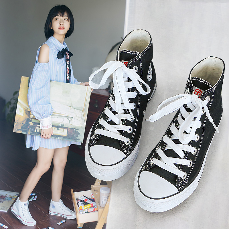 People oriented high top canvas shoes for women 2021 spring new students Korean cloth shoes