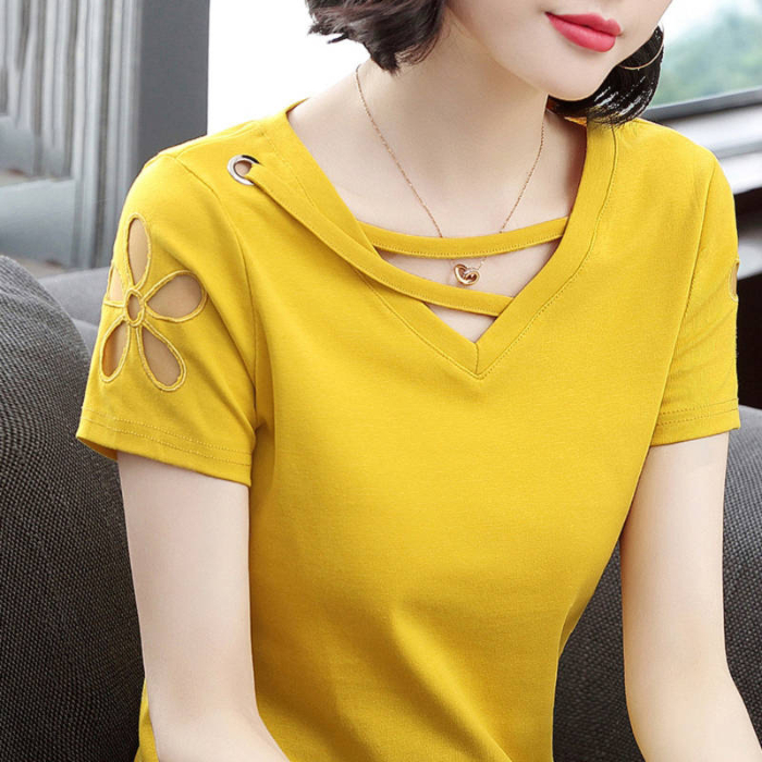 95 short sleeve T-shirt womens 2019 summer new Korean hollow V-neck top body shirt loose and versatile clothes tide solid color