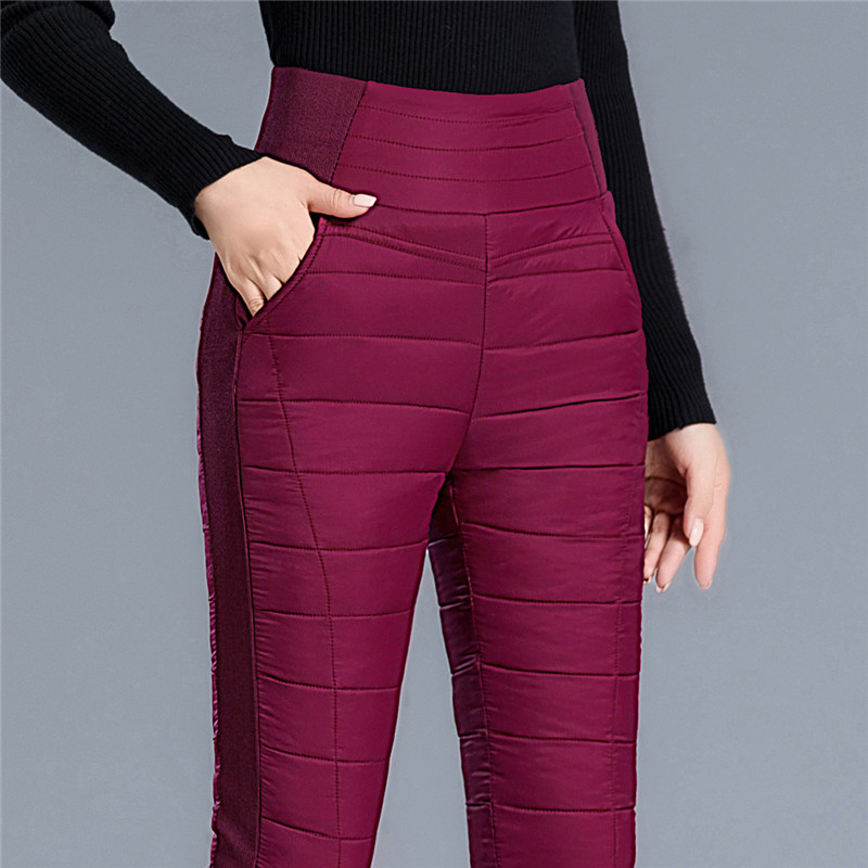 Womens down and cotton trousers: large, thickened, high waisted, slim, full down and inside, warm down and cotton trousers for middle-aged and old people
